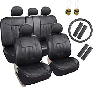 Best Leader Accessories 17pcs Black Faux Leather Car Seat Covers Full Set Front + Rear with Airbag Universal Fits for Trucks SUV Included Steering Wheel Cover / Seat Belt Covers Review