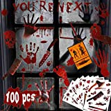 Oaroily 100 PCS Halloween Window Clings Decals Decorations, 9 Sheet Bloody Handprint Footprint Window Stickers Glass Decals for Halloween Party Decoration Supplies