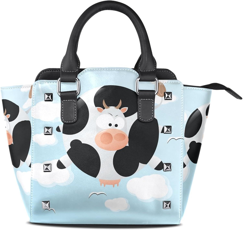 My Little Nest Women's Top Handle Satchel Handbag Funny Cute Floating Cow Ladies PU Leather Shoulder Bag Crossbody Bag