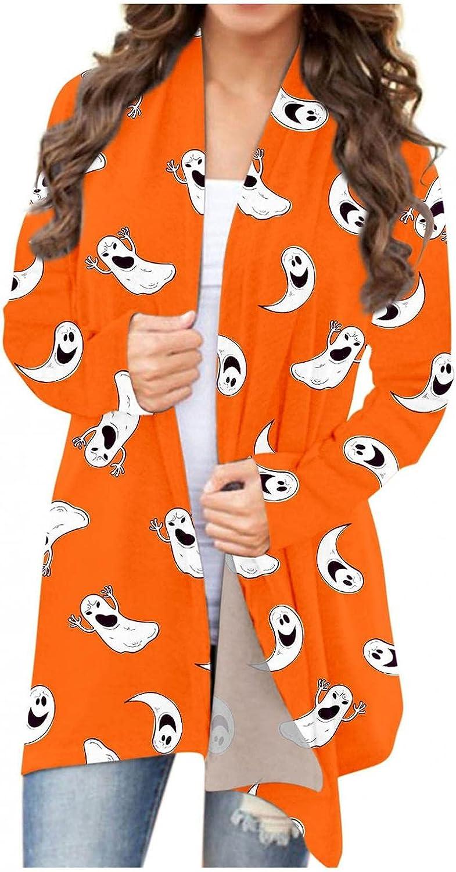 Halloween Costumes for Women,Womens Cardigan Tops Comfy Cute Pumpkin Black Cat Ghost Cardigan Lightweight Coat