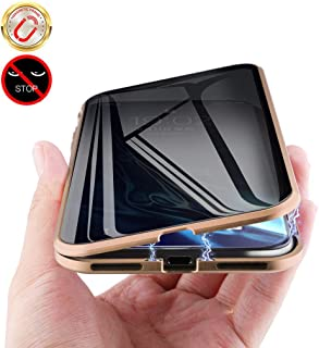 """MIMEI Privacy Magnetic Case for iPhone XR 6.1 inch, Clear Double Sided Tempered Glass [Magnet Absorption Metal Bumper Frame] Thin Anti-Spy 360 Full Protective Phone Case 5.8'' (Gold, XR 6.1"""")"""