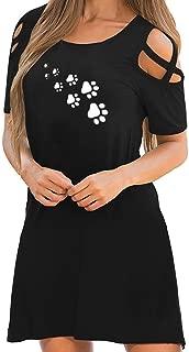 Pocciol Cute Short Sleeve Dresses,Women's Summer Casual Cat Paw Print Skirt Daily Cold Shoulder Beach Mini Dress