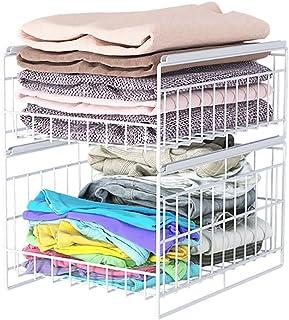 yqs Porte-manteaux sur rail porte-vêtements, porte-manteau, armoire coulissante, étagère de rangement pour vêtements, tiro...