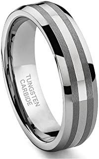 Hollywood Pro 6MM Tungsten Carbide 14K White Gold Inlay Wedding Band Ring Size 5-13