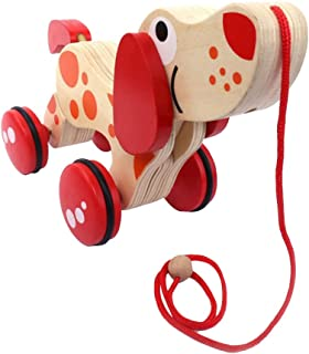 NUOLUX Wooden Push and Pull Toy Toddler Educational Toys (Dog Tractor)