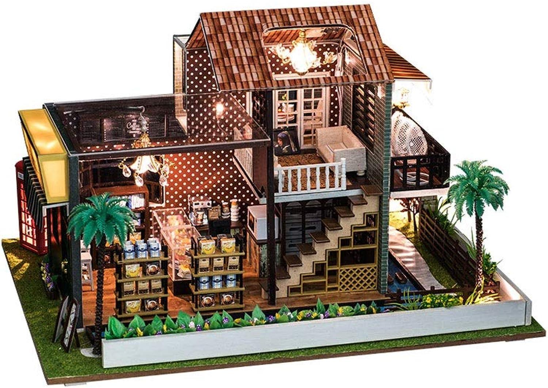 100% a estrenar con calidad original. Evav Casa de muñecas, muñecas, muñecas, casa de Bricolaje Hecha a Mano casa de café Modelo Villa Juguetes ensamblados  ordenar ahora
