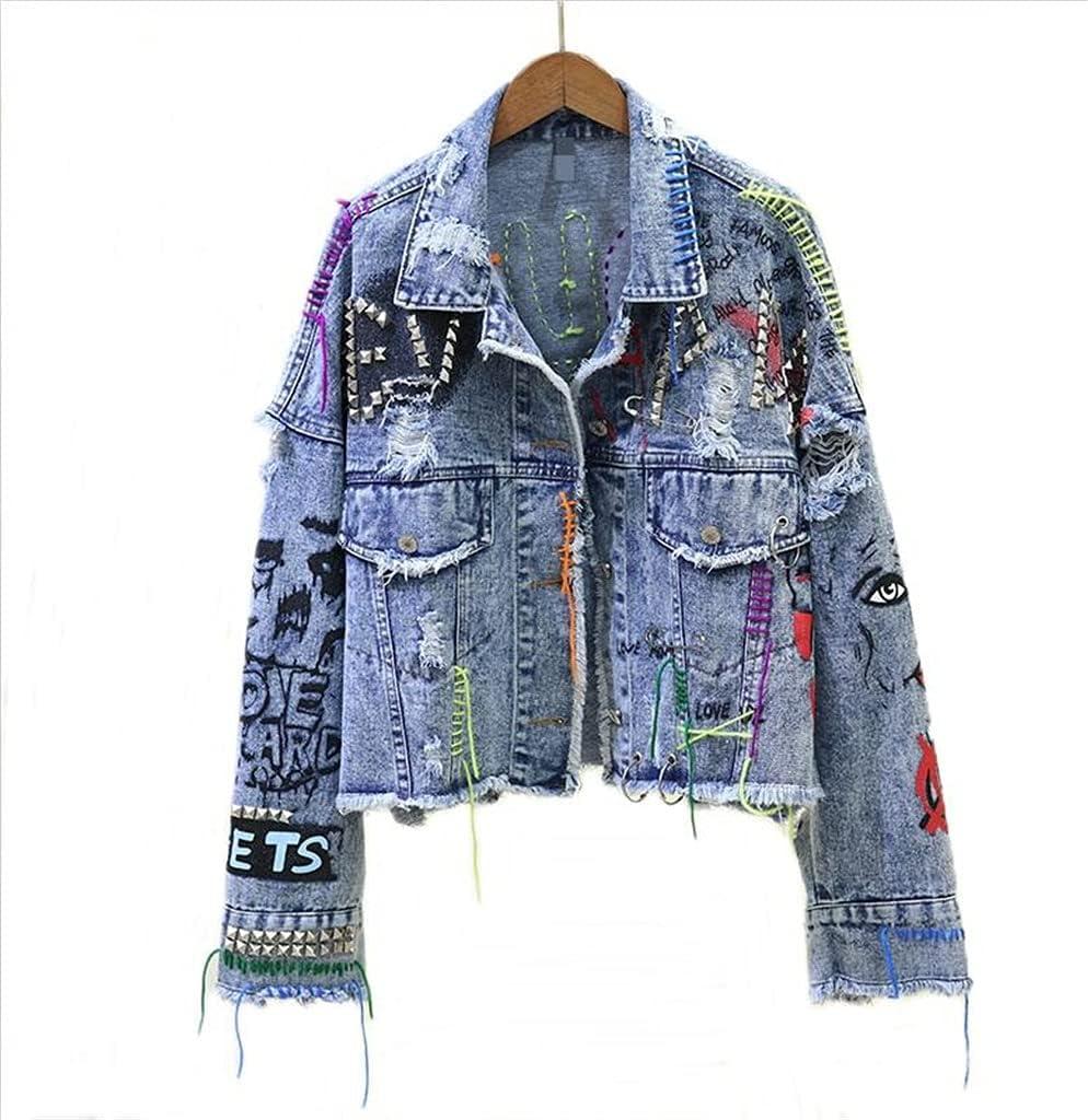 CDQYA Women's Denim Jacket Spring Autumn Graffiti Rivet Jean Jackets Female Holes Denim Jackets Fashion Girl Outerwear Coat (Color : Blue, Size : One Size)
