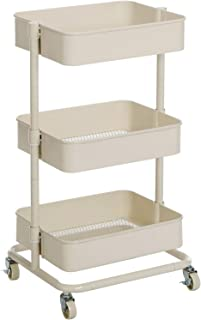 3 Ripiani con 1 Maniglia Superiore JAKAGO 2 Ruote bloccabili e 3 cestini in Rete Bianco Organizer Mobile per casa e Ufficio Carrello da Cucina a 3 Ripiani Metallo