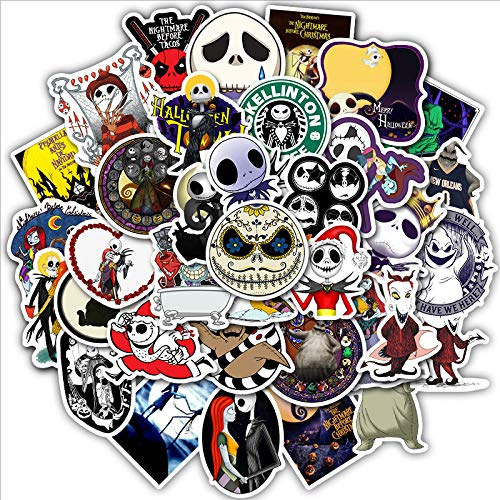 Halloween Theme Stickers Pack of 50 Stickers for Laptops, The Nightmare Before Christmas Funny Merchandise Laptop Stickers for Laptops, Computers, Hydro Flasks, Skateboard and Travel Case