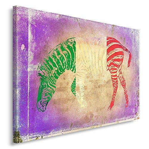 Feeby Frames, Cuadro en Lienzo, Cuadro impresión, Cuadro decoración, Canvas de una Pieza, 40x50 cm, Zebra, Bandera, Italia, Moderno