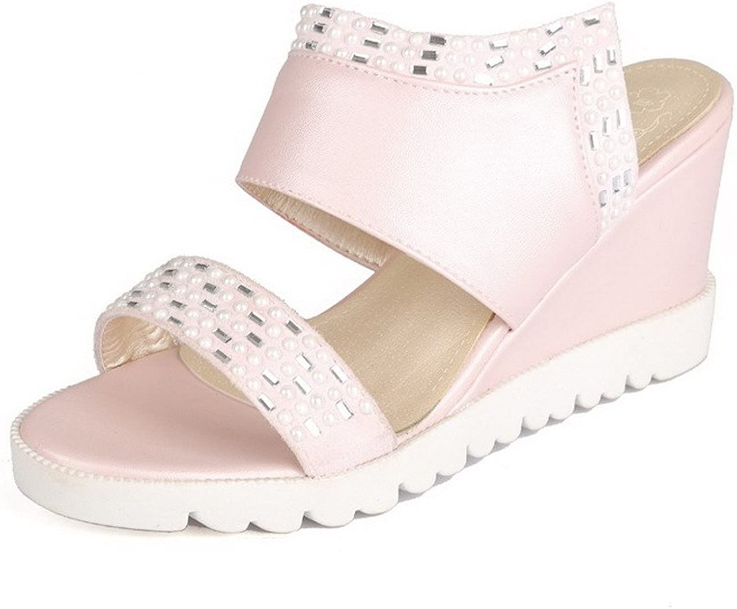 WeiPoot Women's Pull-on High-Heels PU Solid Open-Toe Sandals