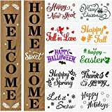 Welcome Stencils for Painting on Wood Seasonal Holiday Stencils Home Sign Stencils for Front Door Decor Reusable Porch Sign Halloween Christmas Fall Stencils Templates