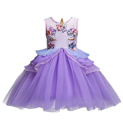 e9bae1665ac OBEEII Girls Unicorn Costume Cosplay Dress Party Outfit Fancy Dress Princess  Tutu Skirt for Festival Performance