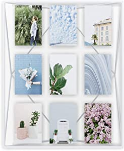 Umbra, White Prisma Gallery Frame – Floating Wall or Desk Photo Display for Pictures, Art, Illustrations, Graphic Text & More, Metal