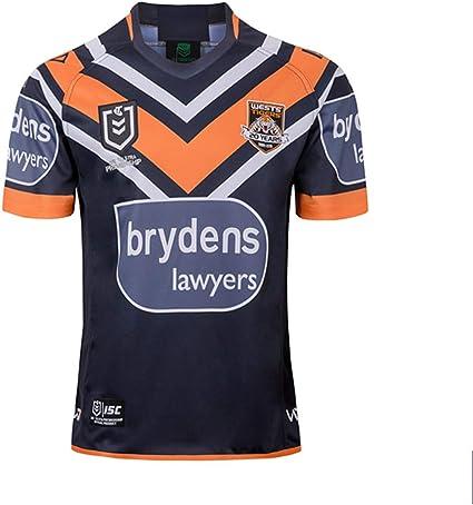 DDZY Jersey de Rugby, 2019 West Tigres hogar/lejos, Deportes de Verano Transpirable Camisa Casual Camiseta de fútbol Camisa de Polo,Home,M