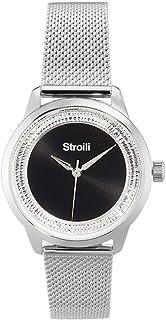 Stroili - London - Orologio da polso solo tempo con cassa in acciaio e strass e cinturino in acciaio a maglia milanese col...