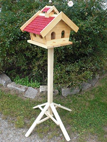 Vogelhaus mit Ständer-(V10+S1)XXL Rot-Vogelhäuser Vogelfutterhaus Vogelhäuschen-aus Holz-DHL Schreinerarbeit-
