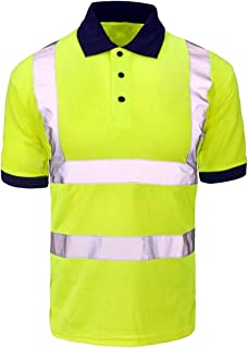 RIDDLED WITH STYLE Mens Hi Vis Viz Collared Tshirt Adults Short Sleeves Reflective Tape Safety Top