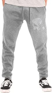 NICOTE Men's Sleeve T-Shirt New Daredevil Punisher Skull Logo Fashion with Pockets Casual Sweatpants Black