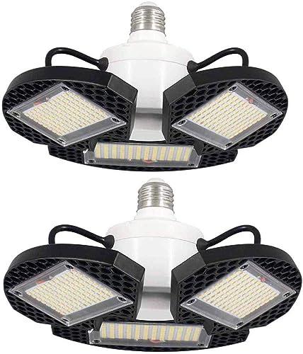 ZJOJO 2Pack LED Garage Lights Deformable LED Garage Ceiling Lights 7500 Lumens CRI 80 Led Shop Lights for Garage Gara...