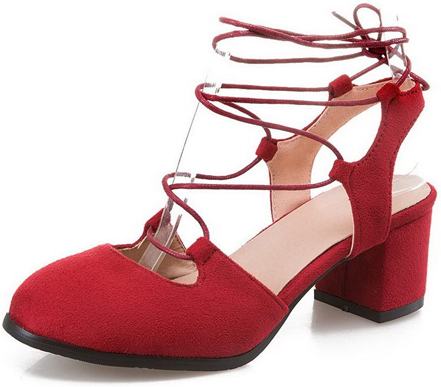 WeenFashion Women's Lace-up Kitten-Heels Frosted Solid Round-Toe Pumps-shoes