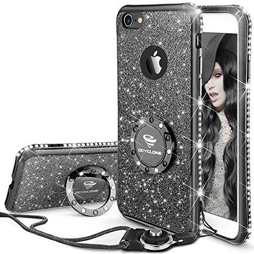 OCYCLONE Fundas iPhone 6 Plus/6S Plus,Ultra Slim Soft TPU Purpurina Fundas Movil con Diamantes Glitter Anillo Protectora Apple iPhone 6 Plus,iPhone 6s Plus para Mujer - Negro