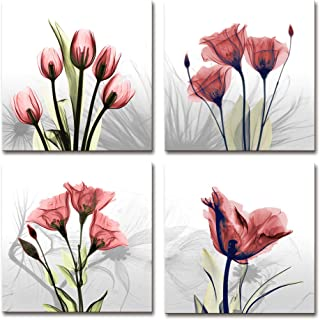Moyedecor Art - 4 Panel Elegant Tulip Flower Canvas Print Wall Art Painting For Living Room Decor And Modern Home Decorations (Four 12X12in, Red flower prints framed)