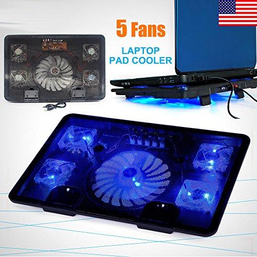 Marketworldcup 10-17 Laptop 5 Fans USB Blue LED Cooler Cooling Adjustable Stand Pad Black