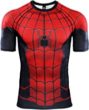 Men's Workout Training Shirts Sports Compression Tops Captain America Spider Gym Running Tee