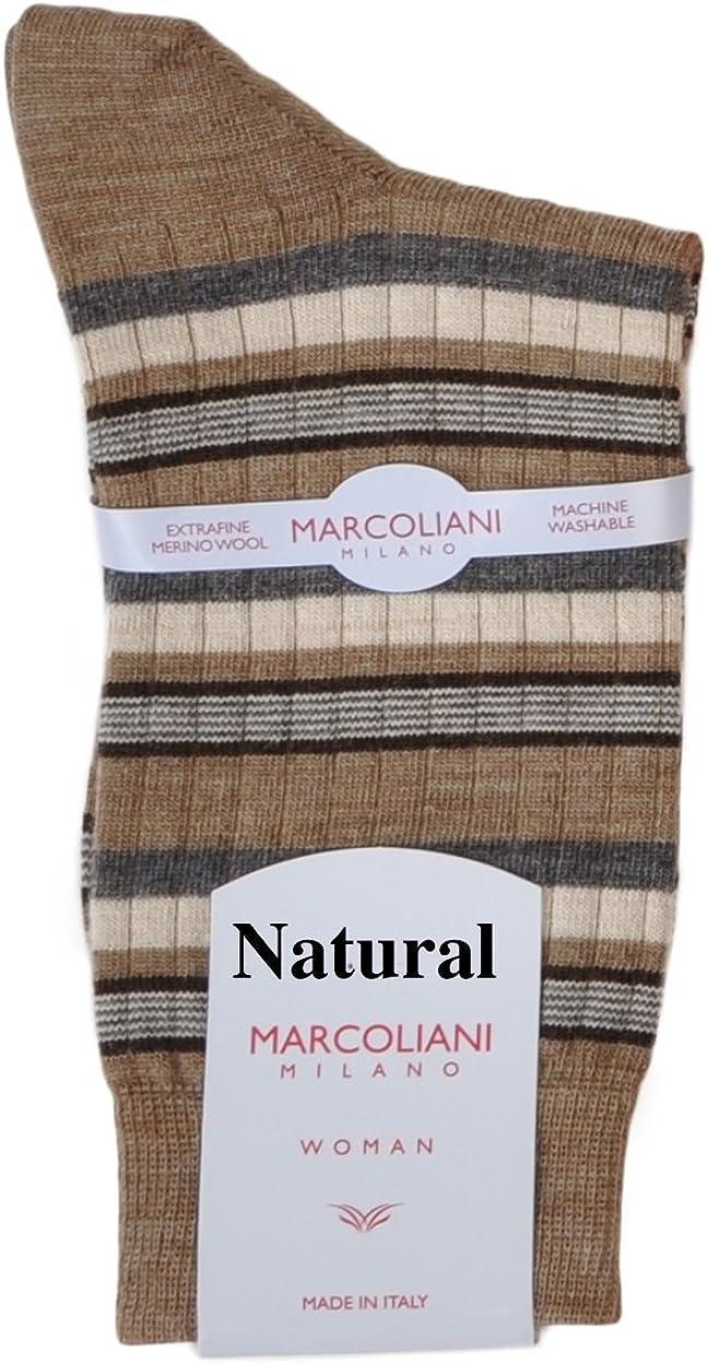 One Pair Marcoliani Women's Merino Multi-Stripe Italian Ankle/Trouser Socks
