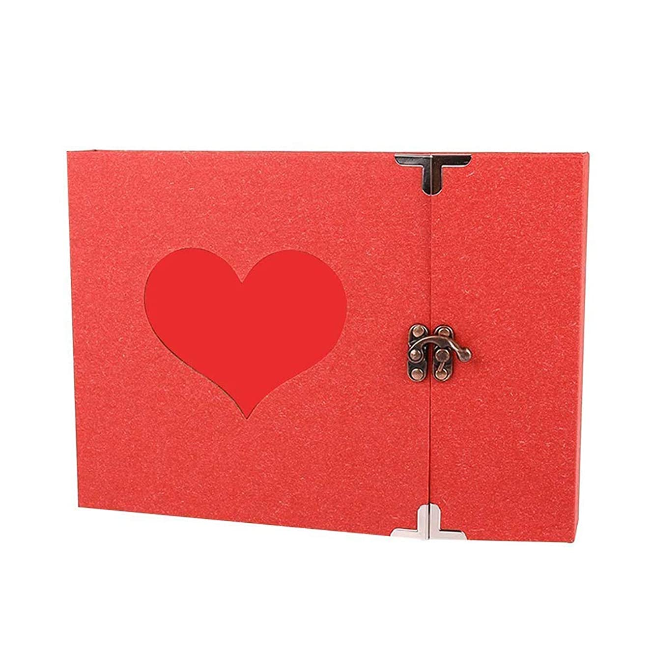 Longpro Vintage Heart Photo Album with Lock, 50 Pages Hand Made DIY Scrapbook Memory Book, Anniversary Photo Album, Wedding Record Album, Guestbook (Pure Red Heart)