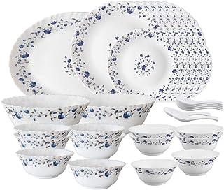 Larah by Borosil Helena Opalware Dinner Set, 33-Pieces, White