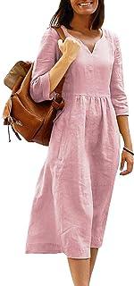 HenzWorld Women Casual Cotton Linen Dress Summer Solid Plus Size Abiti Larghi Donna Elegante Abito Longuette a Maniche Lunghe