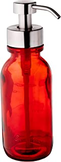 Industrial Rewind Red Soap Dispenser with Stainless Steel Pump - Wide Mouth16oz Red Glass Dish Soap Dispenser