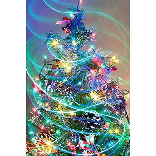Bordado Taladro Redondo Completo 5D Diy Diamante Pintura-Light Up Árbol De Navidad Punto De Cruz Kit De Costura De Mosaico Regalo De Navidad Para Niños 30x40cm