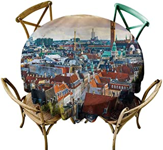 W Machine Sky Tassel Tablecloth City,Copenhagen Photography Diameter 60