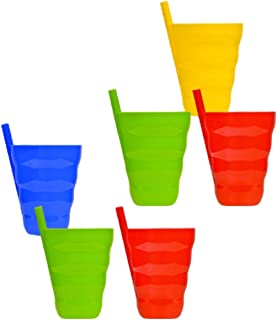 Arrow Plastic Sip-A-Cup with build in straw, 10 Oz Assorted Colors - 6 Count …