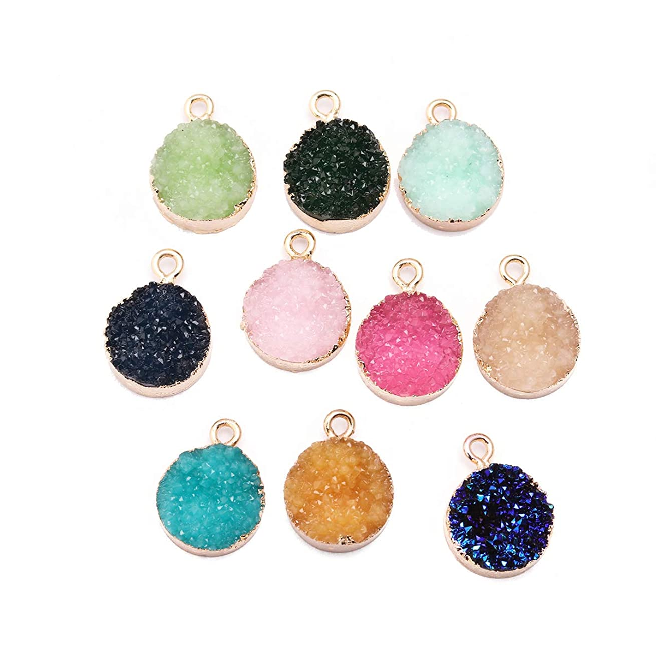 Tiparts 10pcs Faux Druzy Quartz Crystal Jewelry Pendants Round Resin Stones Fit for Charms Jewelry Bracelet Accessories (Round)