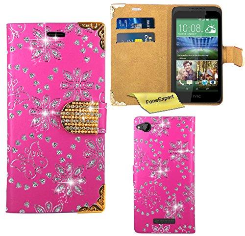 HTC Desire 320 Hülle, FoneExpert® Bling Luxus Diamant Hülle Wallet Hülle Cover Hüllen Etui Ledertasche Premium Lederhülle Schutzhülle für HTC Desire 320 + Bildschirmschutzfolie (Rosa)