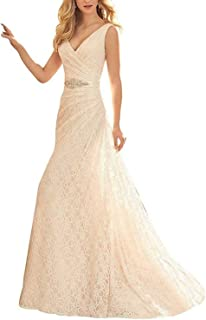 69d0dc66f05 RONGKIM Women s Full Lace Mermaid Wedding Dresses Pleat Beads Bridal Gown  with Belt