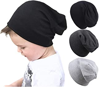 Qandsweat Baby Boy's Hat Kids Cool Knit Beanie Hats Toddlers Caps Vertical Tail Style 1-5T (Black Dark Gray Light Grey)