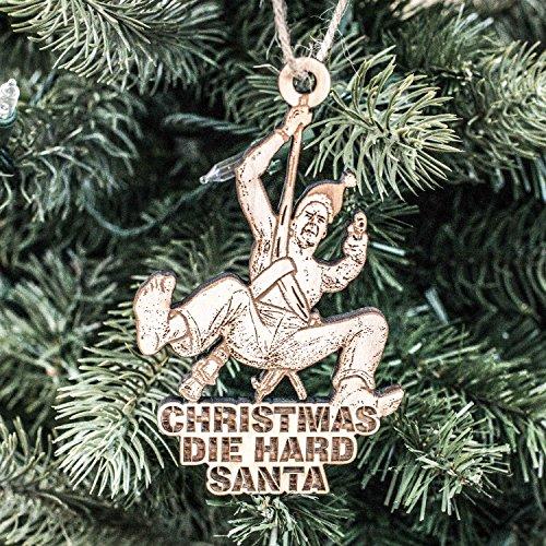 Ornament - Christmas Die Hard Santa - Raw Wood 4x3in