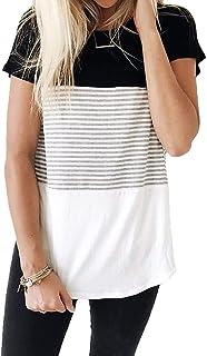 SMALOVY Women's Triple Color Block Stripe T Shirt Short Sleeve Casual Loose Fit Tee