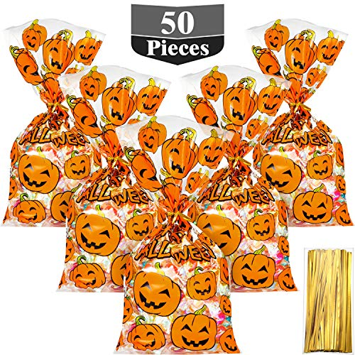 Hestya 50 Counts 15 x 25 cm Flat Clear Cellophane Treat Bags Block Bottom Pumpkin Halloween Patterned Storage Bags Sweet Bags with 300 Pieces Twist Ties for Halloween Christmas Party Favor(Style D)