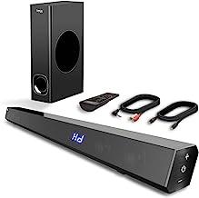 Sound Bar, TV Sound Bar with Subwoofer, 120W 2.1 Soundbar, Wired & Wireless Bluetooth..