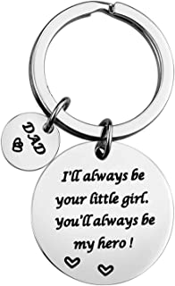 Dad Gifts from Daughter - Christmas Gifts for Dad from Daughter, Dad Birthday Gifts, Valentines Day Gifts for Dad, I'll Always Be Your Little Girl You'll Be My Hero Father Daughter Keychain