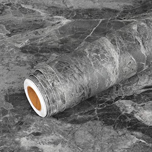 Livelynine Klebefolie Betonoptik Dunkel Grau Klebefolie für Möbel Tisch Schrank Esstisch Schreibtisch Sideboard Glastisch Wand Selbstklebende Tapete Betonoptik Abwaschbare Anthrazit Folieren 40CMX2M
