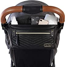 Best Itzy Ritzy Adjustable Stroller Caddy - Stroller Organizer Featuring Two Built-in Pockets, Front Zippered Pocket & Adjustable Straps to Fit Nearly Any Stroller, Black with Gold Hardware Review