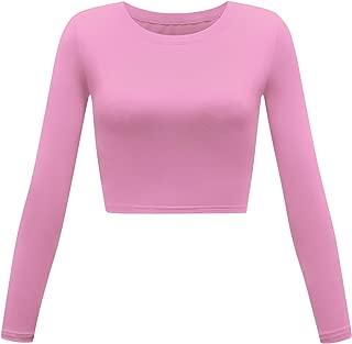 Women's Basic Round Neck Long Sleeve Crop Top