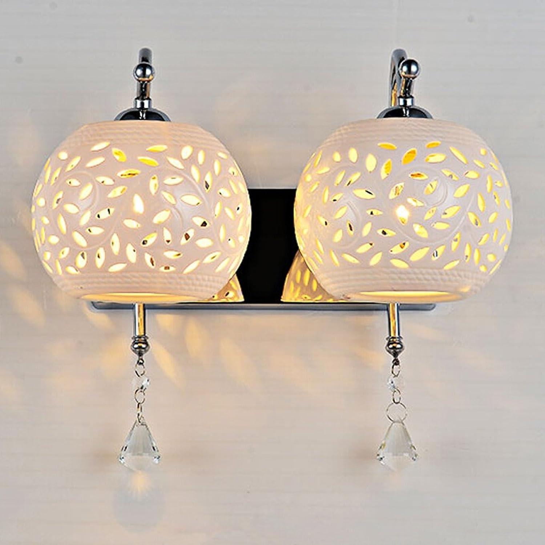 TLMY Moderne minimalistische LED Einzel- und Doppelkopf Lampe kreative Nachttischlampe einzigen Wohnzimmer Schlafzimmer Gang leuchtet Kristall Flur Lampe Die Lampe. (gre   Double head)